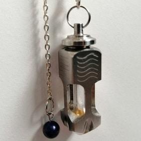 Pendule artisanal de radiesthésie bi-masse avec fiole métal inox laiton création unique