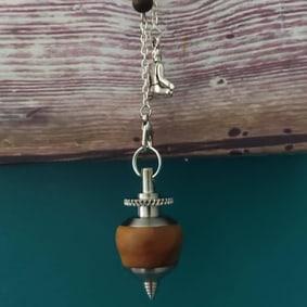 Pendule radiesthésie métal artisanal inox bois flotté ésotérique fait main création unique bouddha