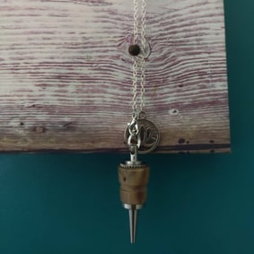 Pendule radiesthésie artisanal inox bois flotté ésotérique fait main