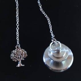 pendule radiesthésie métal inox artisanal fait main améthyste arbre de vie création unique ésotérique