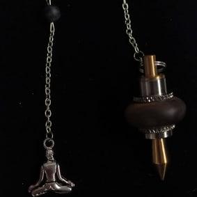 pendule radiesthésie métal bois inox artisanal fait main labradorite bouddha arbre de vie