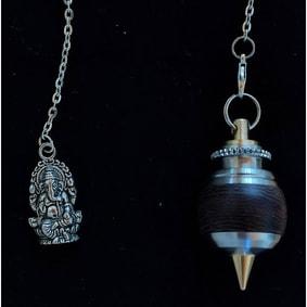 pendule radiesthésie métal bois inox artisanal fait main ganesh