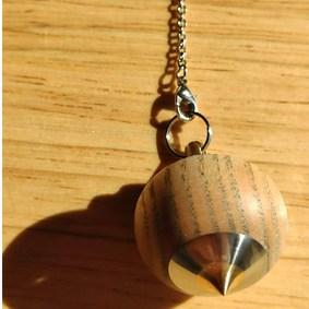 pendule radiesthésie original métal bois inox artisanal fait main améthyste