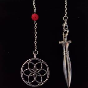 pendule radiesthésie original thot métal inox fait main pierres de lave graine de vie