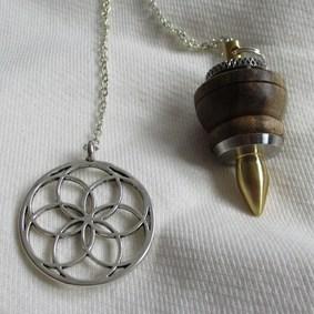 pendule unique radiesthésie original fait main inox laiton bois noyer métal
